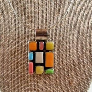 Sterling Mexico gemstone inlay pendant necklace